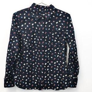 5/$20 Talbots Acorn Print Button Down Shirt